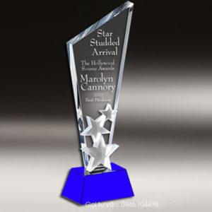 Kỷ niệm chương cúp pha lê ngôi sao màu xanh dương