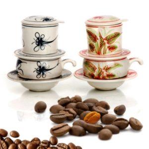 Phin pha cà phê thấp họa tiết chuồn chuồn cổ