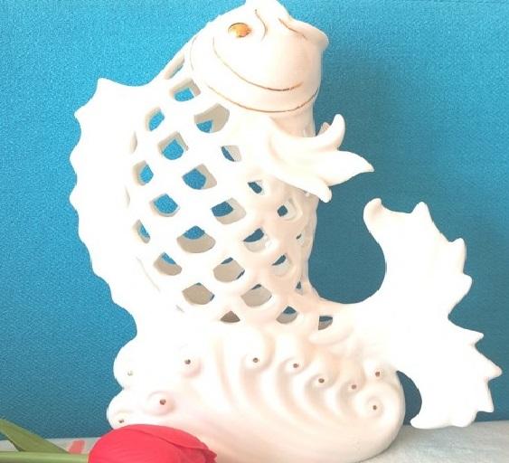 Tượng gốm sứ cá chép hóa rồng