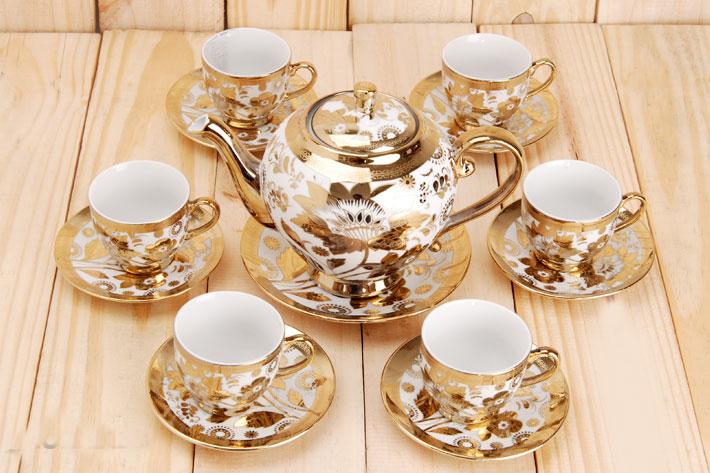 Bộ tách trà nhũ vàng cao cấp